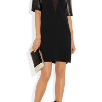 Miu Miu | Leather-sleeved cady shift dress | NET-A-PORTER.COM
