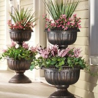 2 Tiered Antique Finish Plastic Urn Planter By Collections Etc