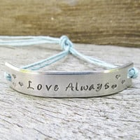 Bracelet ONE Custom Hand Stamped Jewelry Name Tie On Hemp Cord Personalized BFF Besties Jewelry Love Always