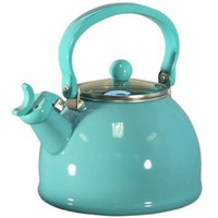 Calypso Basics 2.2-Quart Whistling Teakettle with Glass Lid, Turquoise