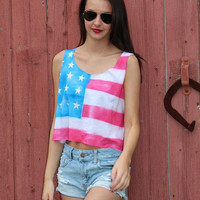 American Flag Crop Top by GreatsbyKate on Etsy