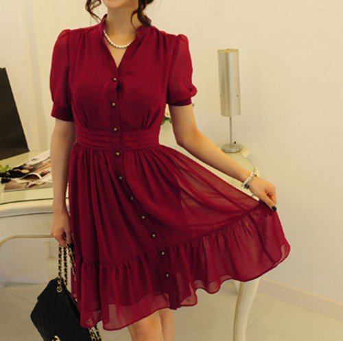 Red wine Chiffon Button Dress- short sleeve flare female chiffon dress | Dressholic - Clothing on ArtFire