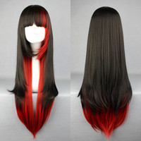 New Charm Lolita Red Black Straight Anime Cosplay Party Wig