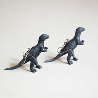 Shades of Grey Dinosaur Earrings  dinosaur jewelry  by KBandT
