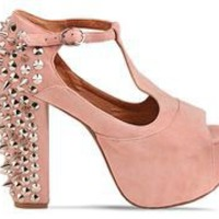 Jeffrey Campbell Foxy Spike in Pink Suede Silver at Solestruck.com