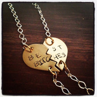 "Hand Stamped Brass ""Best Bitches"" Pendants on Silver Chain"