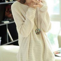 Beige Loose Bats Hollow Pullovers Sweater