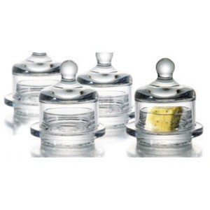 Essential Home Set of 2 Round Butter Dish Sets with Lids