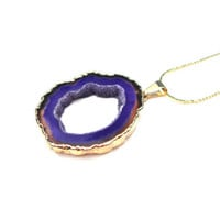 Gold plated purple agate slice necklace - agate geode pendant necklace - purple agate slice necklace by Sparkle City Jewelry