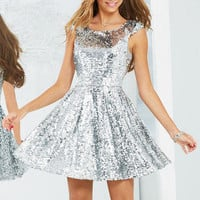 Cap Sleeve Sequin Dress
