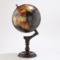 Black Globe with Brown Wood Stand - World Market