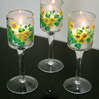 CIJ SaleThree Yellow Flowered Painted Candle Holders