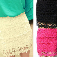 Hot Women Crochet Embroidery Floral Lace Double Layer Bodycon Mini Skirt
