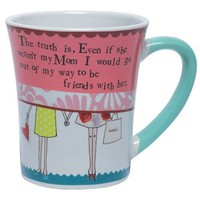 Santa Barbara Design Studio Curly Girl Ceramic Mug with Striped Gift Box, Even If She Weren't My Mom