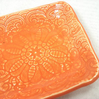 Tangerine Lace Ceramic Dish, Orange Ceramic Candy Dish, Ceramic Dessert Dish, Tangerine Pottery Plate, Orange Pottery