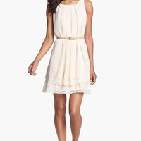 Jessica Simpson Tiered Eyelet Crêpe de Chine Dress | Nordstrom