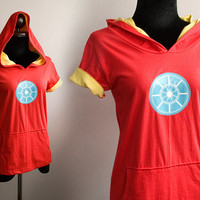 Iron man-energy Arc on red and yellow Hoodie Cotton Sweatshirt  short sleeve