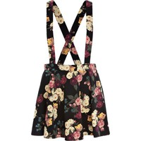 Black floral print dungaree skater skirt - skirts - sale - women