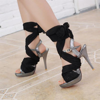 High Heel Chiffon Lace Up Sandals for Women CAF061626 Black01