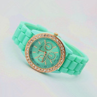 Mint Color Silicone Watch QRF02f