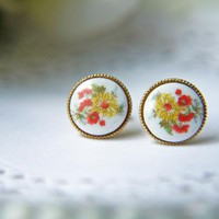 Vintage Glass Autumn Floral Cabochon Post Earrings. Yellow Chrysanthemum | Luulla