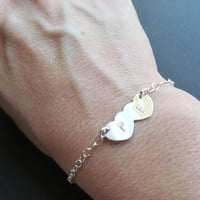 Initial Bracelet . Sterling Silver Bracelet . Initial Couples Bracelet . Bridal Shower Gifts. Mothers Day Gifts. TWO HEARTS Bracelet
