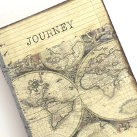 Travel Journal, World Map Journal, Cahier Moleskine, Travel Notebook, Journey, Old World Map, Wanderlust Journal, CIJ 10% Off