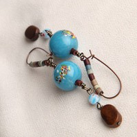 Handmade Bubble Gum Dangle Gun Metal Earrings | peaceloveandallthingsjewelry - Jewelry on ArtFire