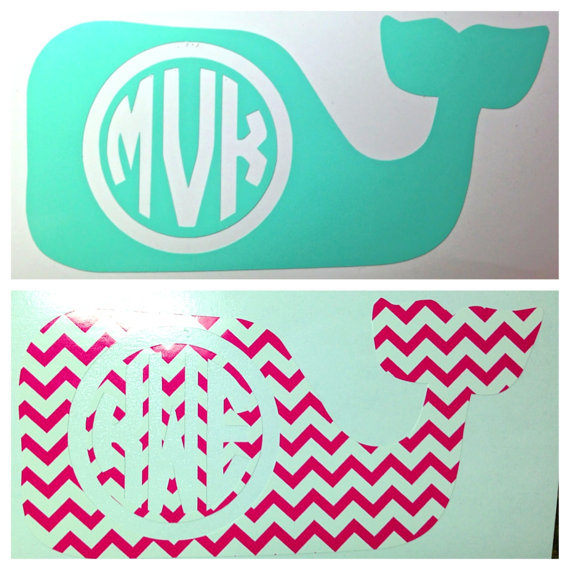 monogrammed whale decal