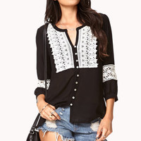 Embroidered Trim Button Up