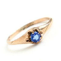 Antique Gold Filled Blue Stone Ring - Size 5 Victorian - Edwardian W L Co. Jewelry / Prong Set Dark Blue Glass