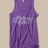 Hakuna Matata Tribal Design Purple Tank Top