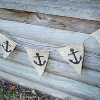 Nautical Anchor Burlap Banner