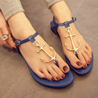 [grxjy5190029]Alloy Anchor Connecting  Thong Sandal