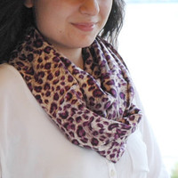 Cream Beige Purple Black Leopard Printed Cotton - Cashmere Loose Infinity Scarf , Shawl , Neckwarmer