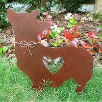 Corgi Dog Metal Garden Stake - Metal Yard Art - Metal Garden Art - Pet Memorial - 2