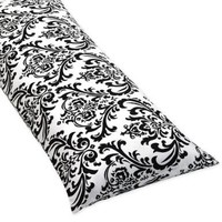 Damask Full Length Double Zippered Body Pillow Cover for Pink, Black and White Isabella Bedding Set:Amazon:Home & Kitchen