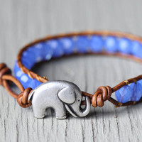 Lucky Elephant Leather Wrap Bracelet : Opal Blue Beaded Bohemian Friendship Cuff, Adjustable, Natural, EcoFriendly, Elephant Button, Silver