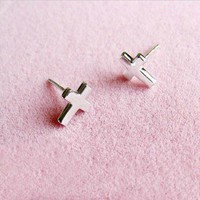 Roman Style Cross Shape Silver Earrings