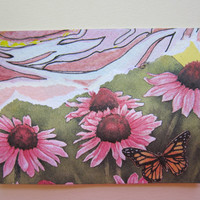 Pink Black Eyed Susan ACEO Collage Watercolor - recycled print 372 recycle