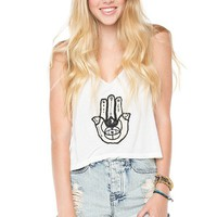 Brandy ♥ Melville |  Mirella Hamsa Hands Embroidery Tank - Graphics