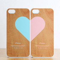 iPhone 5 / 4 / 4s Case  Love pairs for couples  Wood by evoncase