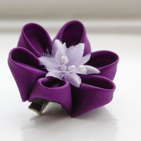 Violet Silk Hair Flower Purple Kanzashi Flower by cuttlefishlove