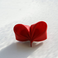 Red Heart Brooch Silk Kanzashi Heart by cuttlefishlove on Etsy
