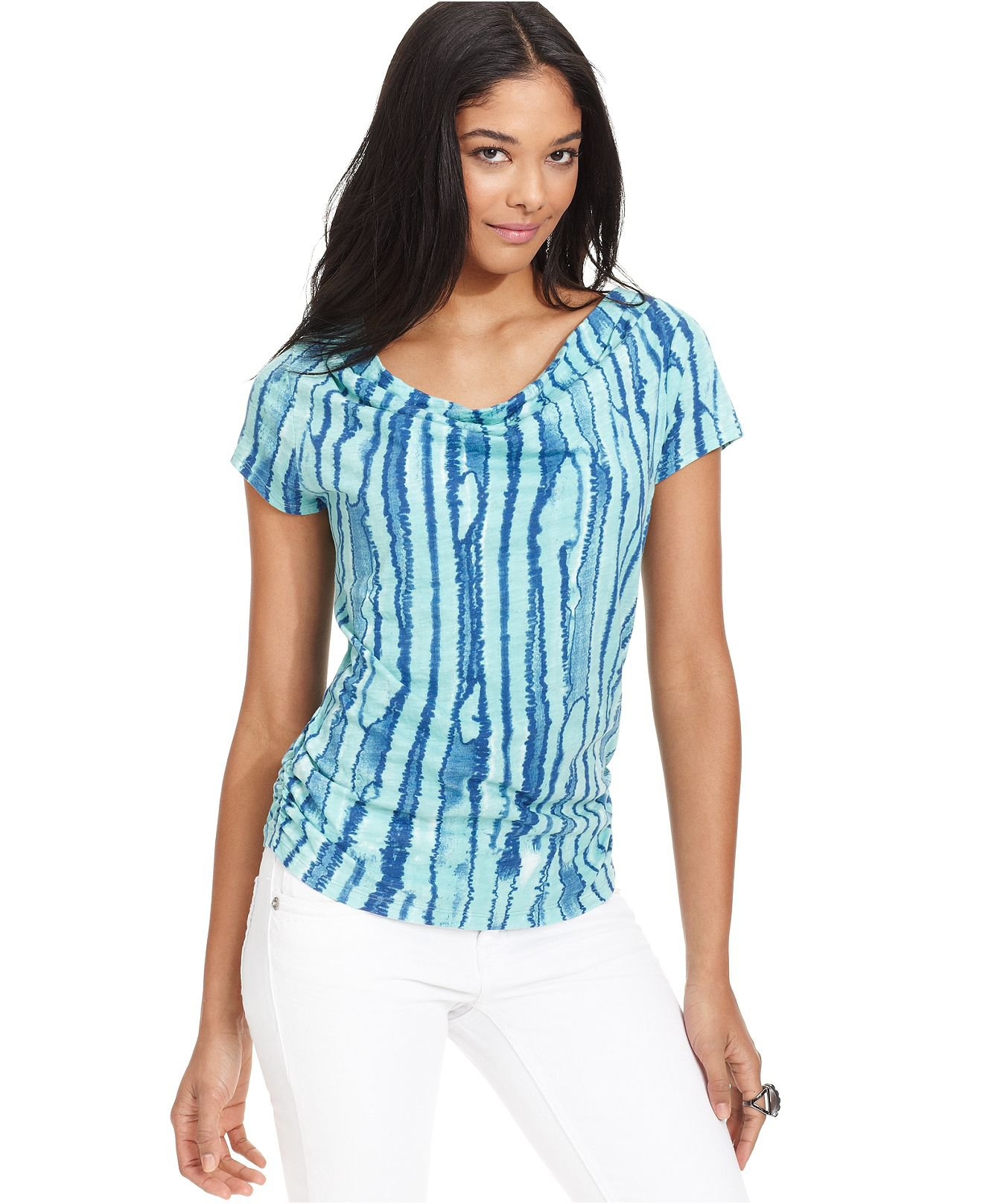 DKNY Jeans Top Cap-Sleeve Cotton Printed from Macys | Blue Hue!