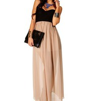 Pre-Order: Black/Taupe Strapless Lace Maxi Dress