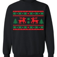 Festive Threads - Ugly Christmas Sweater Design (Moose Design) - Adult Crewneck Sweatshirt (Assorted Colors & Sizes):Amazon:Clothing