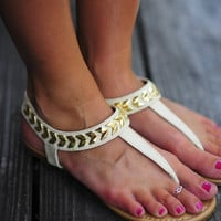 Follow The Arrows Sandals: Ivory | Hope's