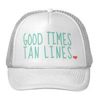 Good Times Tan Lines Summer hat girls from Zazzle.com