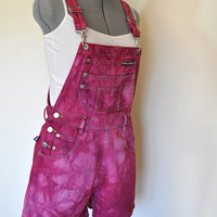 Red Bib OVERALLS  - Hand Dyed Red Wine LondonLondon Denim Overall Shorts - Boho Rocker Hipster - Size Small (30 waist)